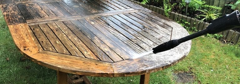 Pressure washing outdoor furniture